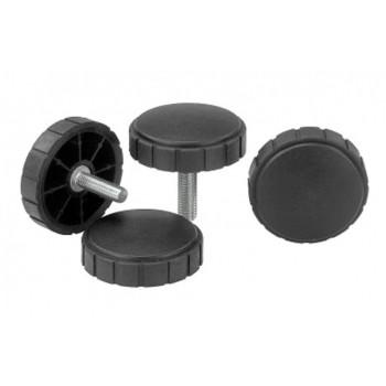 Ручки регуляторов плоские с накаткой и специальным покрытием из мягкого термопласта для рычагов управления промышленного оборудования, контрольного и медицинского оборудования, приборов