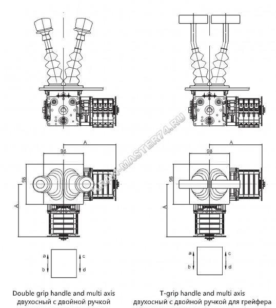 Габаритные и установочные размеры джойстиков (QT7B-152-3-3, QT7B-162-3-3) двухосный с двойной ручкой - горизонтальное исполение