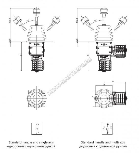 Габаритные и установочные размеры джойстиков QT7B-112 (одноосный и двухосный) с одинарной ручкой - вертикальное исполнение