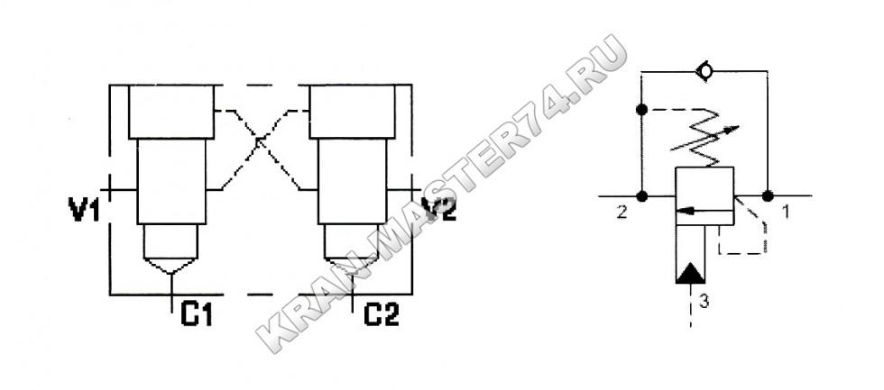 Клапан тормозной сдвоенный CBCG-LJN-YEV - Принципиальная гидравлическая схема