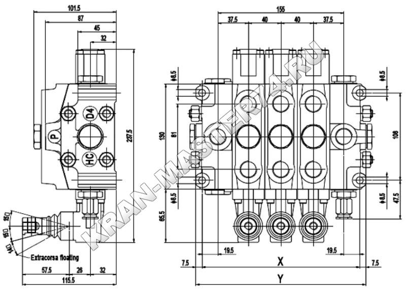 Чертеж гидрораспределителя Hydrocontrol HC-D4/6 для гидроманипуляторов ВелМаш ОМТ70-01, ВелМаш ОМТ70-02, ВелМаш ОМТ70-03, ВелМаш ОМТ70-04, ВелМаш ОМТ97, Майкоп ЛВ-185-10, Майкоп ЛВ-185-14