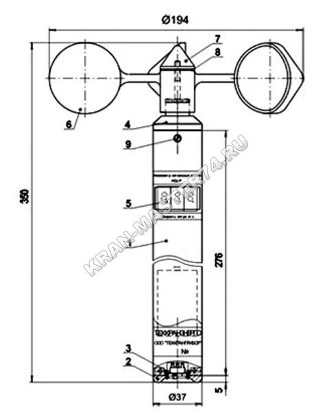Анемометр цифровой АСЦ-Р (схема, габариты)