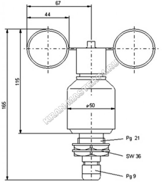Датчик скорости ветра ДСВ - 2М (габариты)