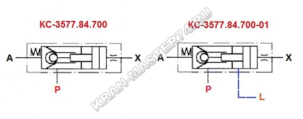 Клапан обратно-управляемый КС-3577.84.700(-01) - обозначение на принципиальной гидравлической схеме