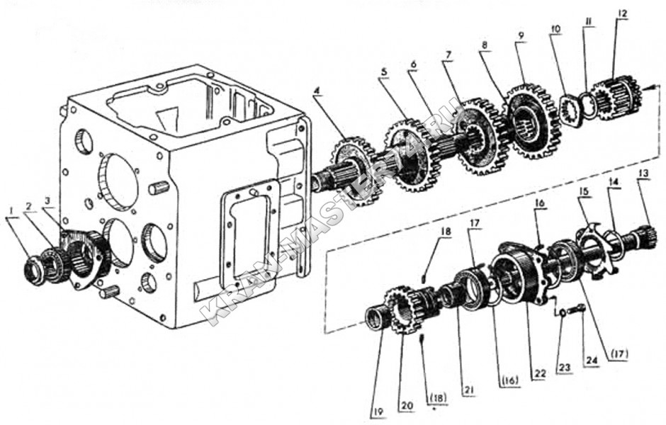 Схема сборки коробки мтз 80