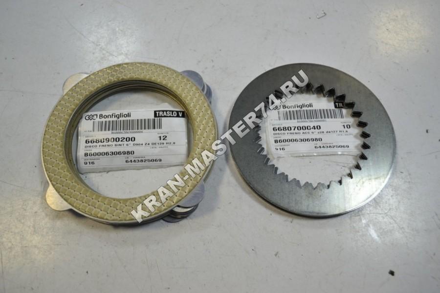 Комплект тормозных дисков грузовой лебедки Bonfiglioli 706 для автокранов Галичанин и Клинцы КС-45719, КС-55713, КС-55729, КС-55731, КС-65719