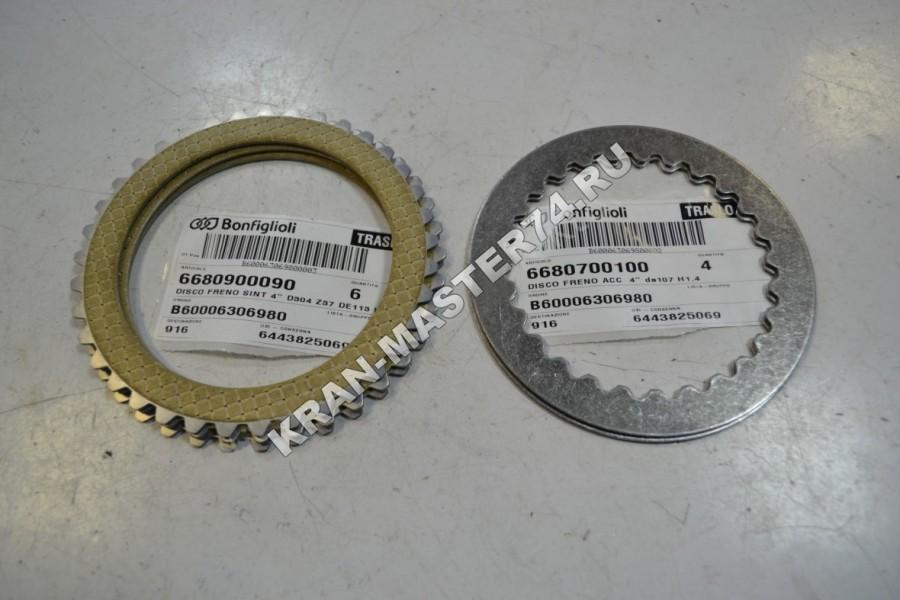 Комплект тормозных дисков механизма поворота Bonfiglioli 705 для автокранов Галичанин и Клинцы КС-45719, КС-55713, КС-55729, КС-55731, КС-65719