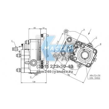 Коробка отбора мощности FHER Mercedes-Benz задняя, пневматика, 1:1,72