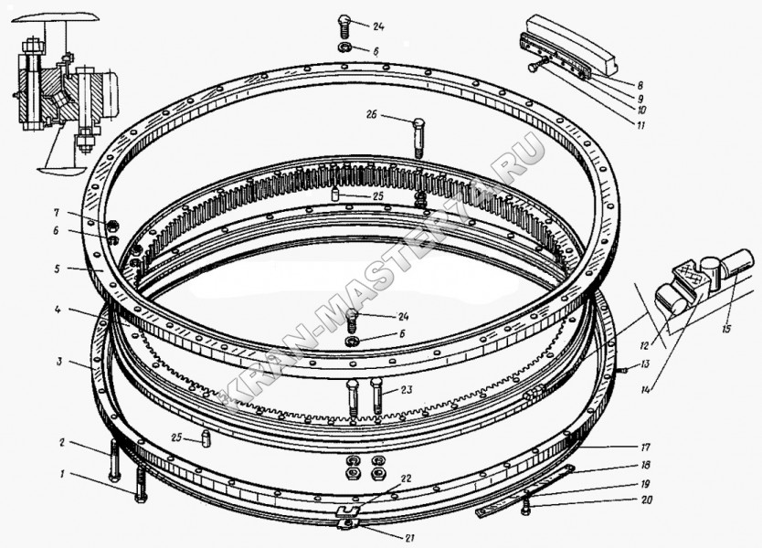 Опорно-поворотное устройство 33-030000-000-01 для железнодорожных кранов КЖДЭ-25, КЖ-461, КЖ-462, КЖ-561, КЖ-562, КЖ-662